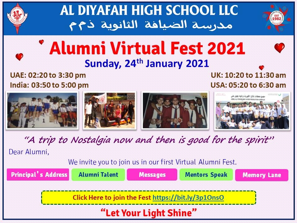 Alumni Virtual Fest 2021 Link to Join:  #AlumniMeet #Alumni #memories #letyourlightshine
