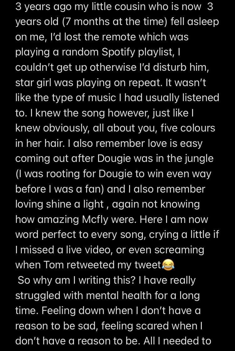 @mcflymusic I've had such a rubbish time recently and you have really cheered me up on #McFlyTotalAccess ...I think this will explain more x @TomFletcher @DougiePoynter @mcflyharry @itsDannyJones