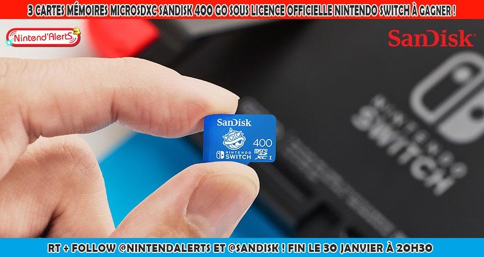 Concours : 3 Cartes mémoires microSDXC SanDisk 400 go (valeur 139,99€ par carte) sous licence officielle Nintendo Switch à gagner ! Follow @nintendalerts + @SanDisk, RT le Tweet et tague un ami.  Fin du concours le 30/01 à 20h30. Plus d'infos ici ➡️