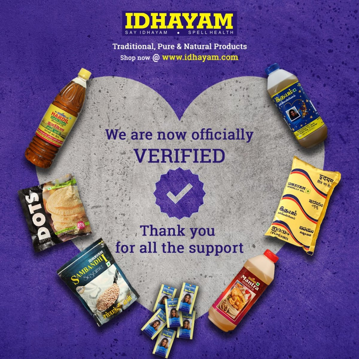 We are officially verified Facebook page with a Blue tick. Please follow us for any updates on Idhayam products and related news -   #verified #idhayammantra #Update #Facebook #thursdayvibes