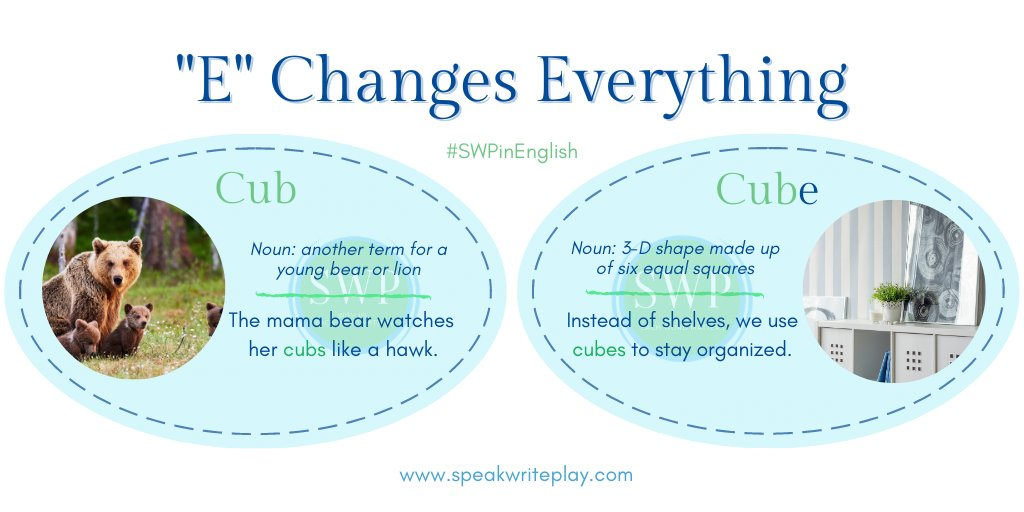"""""""E"""" Changes Everything:  Baby #cubs are adorable! Who is your favorite cartoon cub?  To stay organized, we use #cubes for #storage. How else can cubes be used?  Let us know!  #ielts #English #SWPinEnglish #vocabulary #toefl #Thursdaythoughts"""