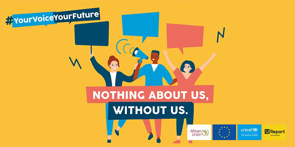 ⚠️ No decisions on young people without their involvement!🙅🙅‍♀️   @UNICEF, @eu_partnerships & @_AfricanUnion via @UReportGlobal consulted youth in Africa & Europe on issues affecting their lives & the way forward. Tomorrow we find out! #YourVoiceYourFuture #StrongerTogether