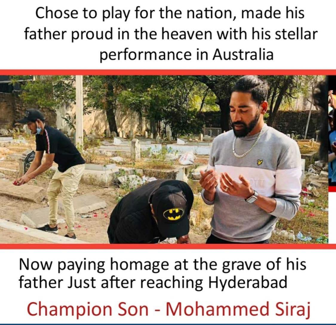 #Siraj drives straight from airport to his father's grave, brings some closure to his grief