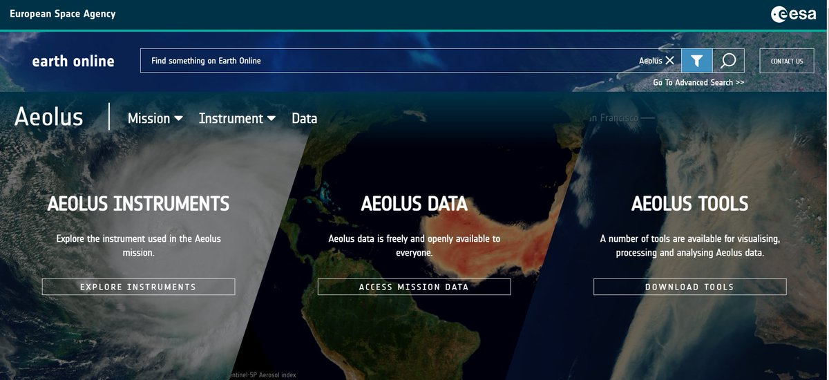 #Aeoluss @esa Earth Online page has a brand new look and we are blown away😍 Check out the layout and explore Aeolus data and the latest news about it👉earth.esa.int/eogateway/miss…