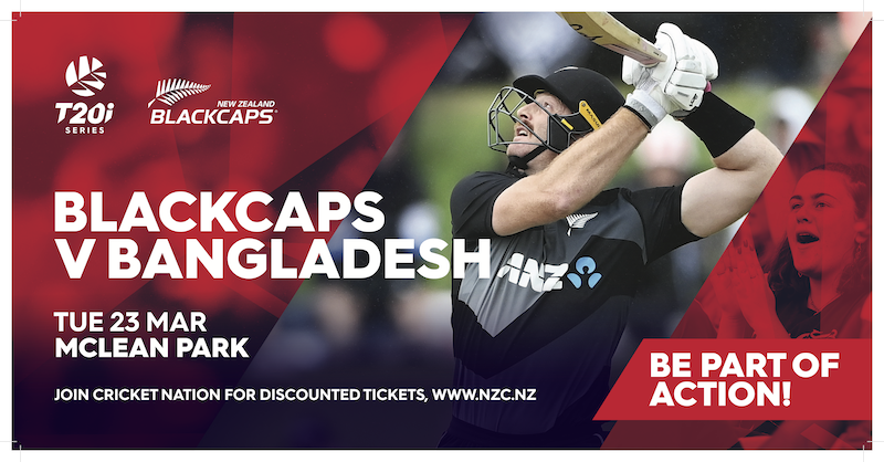 The @BLACKCAPS will be back on CD turf in March!   Grab your tix now for a fun night out under lights Tickets 👉   #NZvBAN #CricketNation @CityOfNapier