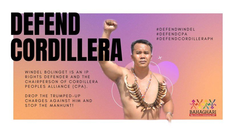 Windel Bolinget, the Chairperson of the Cordillera People's Alliance (CPA), has recently been placed under a bounty and SHOOT-TO-KILL order. Fighting for indigenous rights is NOT terrorism! DROP THE CHARGES! STOP THE MANHUNT NOW! #DefendWindel #DefendCPA #DefendCordilleraPH