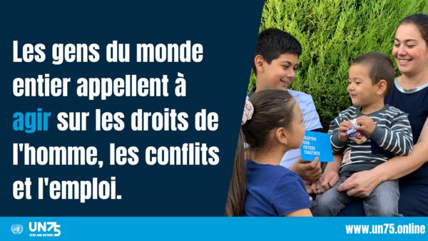 Plus d' 1,5 M de personnes nous ont dit leurs priorités pour l'avenir. Ils réclament plus de possibilités d'emploi, plus de respect des droits de l'homme et plus d'action pour réduire les conflits.    #ShapingOurFuture #UN75