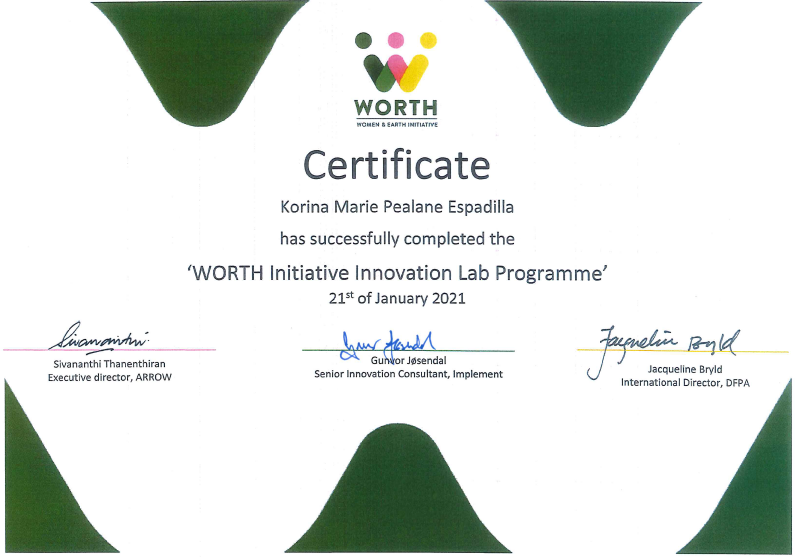 We would like to congratulate our very own @ephemeralrosie for completing the @WorthInitiative Innovation Lab Programme! Heres to more efforts at capacity-building and grassroots organizing! (c) WORTH Initiative