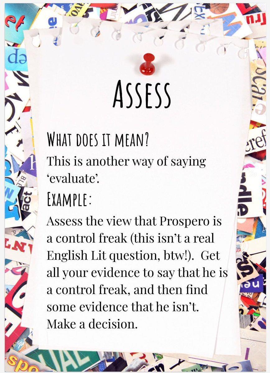 Essay command words, this week 'assess'. What does it actually mean? And where does the word come from? Have a listen to Helen's podcast to learn more.   @BlackpoolSixth #ThursdayThoughts #studyskills #commandwords #essaywriting