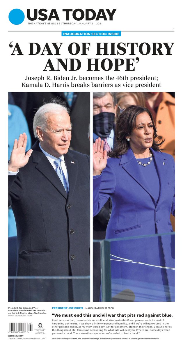 On today's #frontpage:  'A DAY OF HISTORY AND HOPE' –President Joe Biden and Vice President Kamala Harris took their oaths on the U.S. Capitol steps Wednesday. –Biden in his inauguration speech: 'We must end this uncivil war that pits red against blue.'