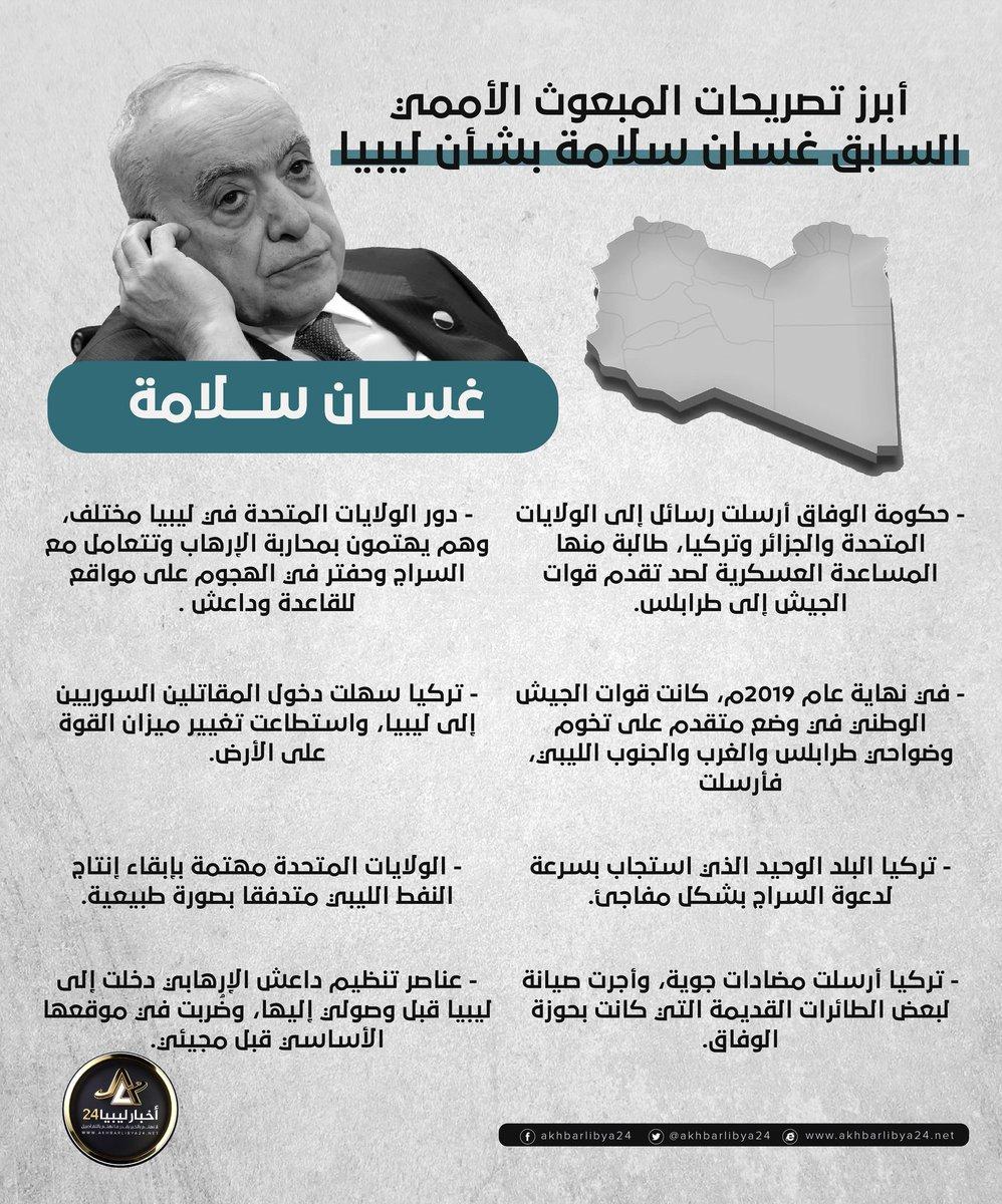 أخبارليبيا24 انفوجرافيك أبرز تصريحات المبعوث الأممي السابق غسان سلامة بشأن ليبيا
