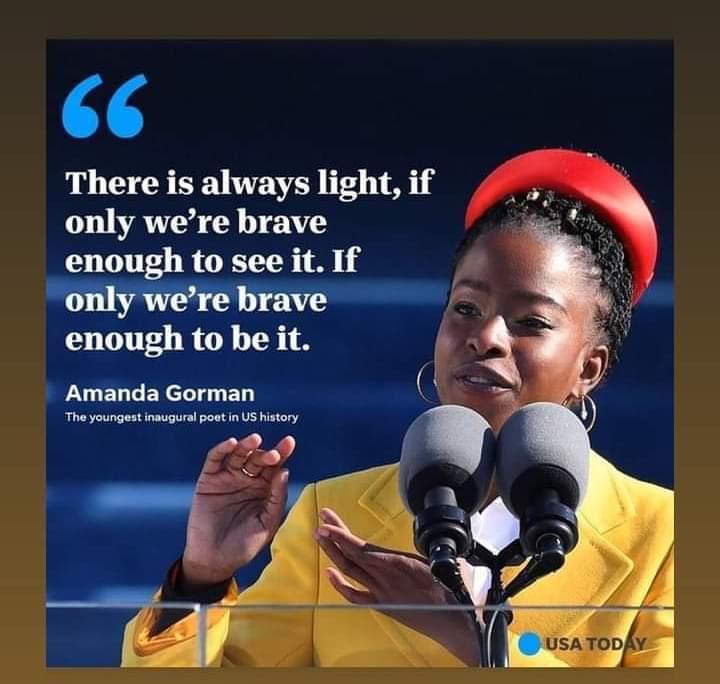 #thursdaymorning #AmandaGorman #SpeakingTruth...Let's be brave~KDP