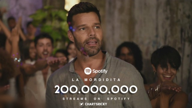 """La Mordidita"" by @Ricky_Martin has now surpassed 200 million streams on Spotify!  — This is Ricky Martin's 2nd song to reach this milestone. 💖"