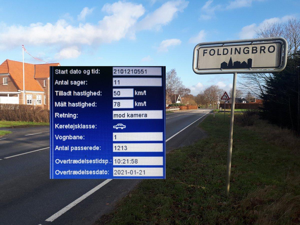 Fotovognen har været i Foldingbro i Vejen kommune. 15 blev blitzet deraf 3 klip i kørekortet hvor den hurtigste kørte 78 km/t. Sænk farten så alle kommer sikkert frem. #atkdk #politidk https://t.co/onXbf2GboN