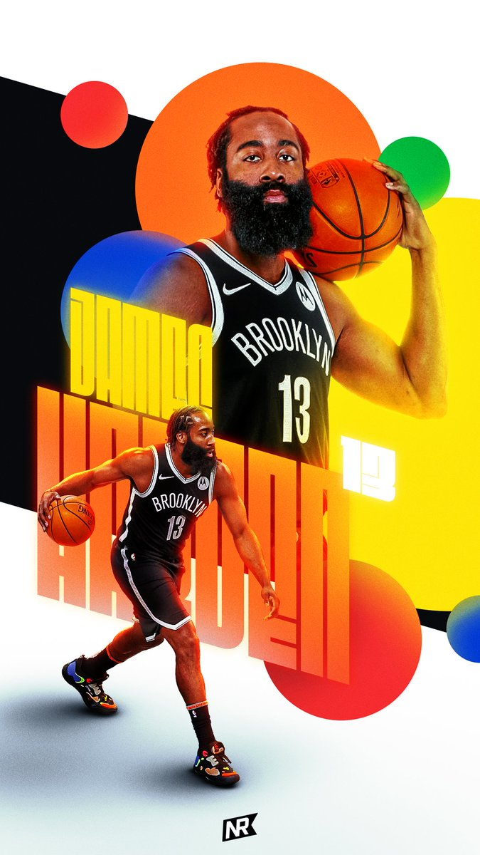 Some colorful fun with the Beard for yesterday's #WallpaperWednesday for @NetsRepublic   🟠🔵🔴🟡🟢  #smsports