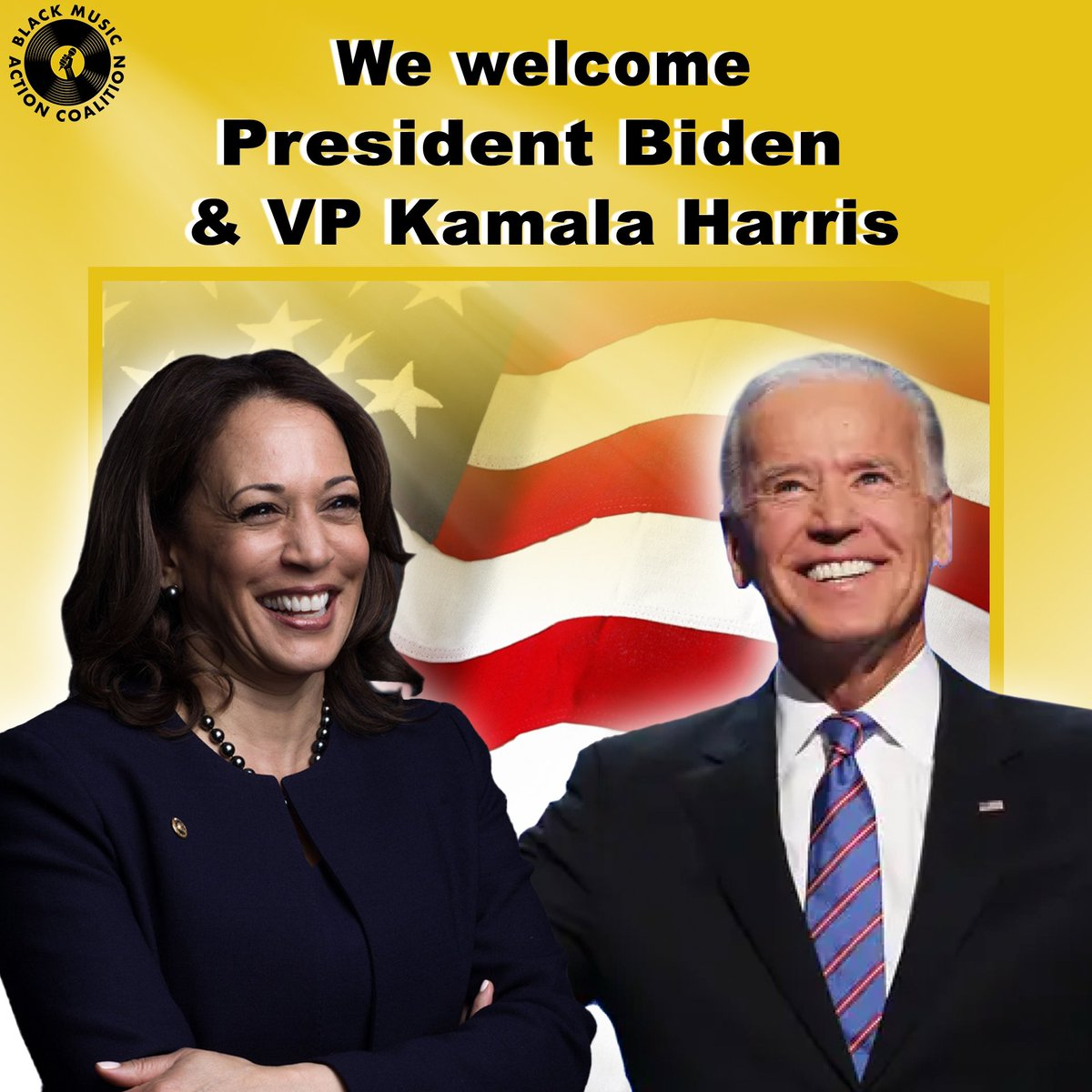 We welcome the New President and Vice President of The United States of America! @JoeBiden and @KamalaHarris. #BMAC