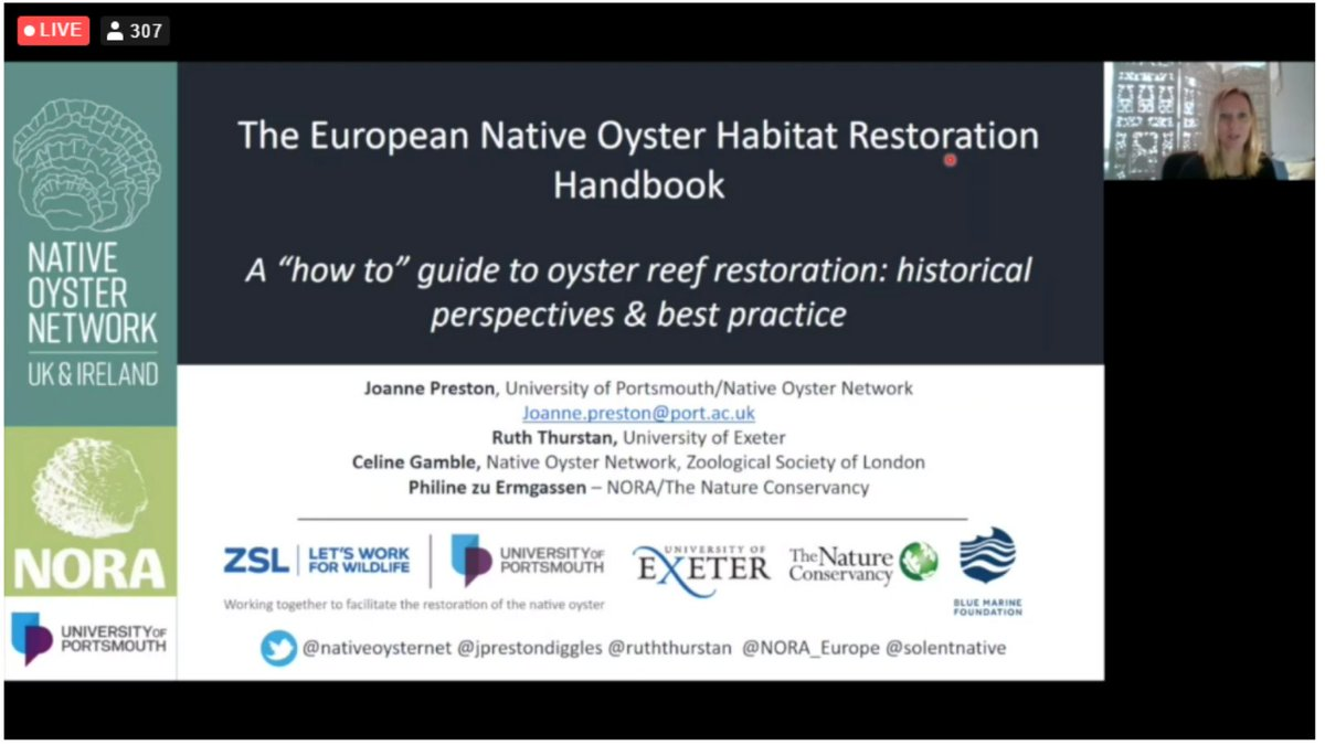 Thanks to @JPrestonDiggles for a great introduction to our Handbooks - essential tools for creating #ClimateResilience and highlighting that #restoration is 🌟achievable & necessary🌟#CoastalFutures21 #generationrestoration  Download here👉 📚 #NativeOyster