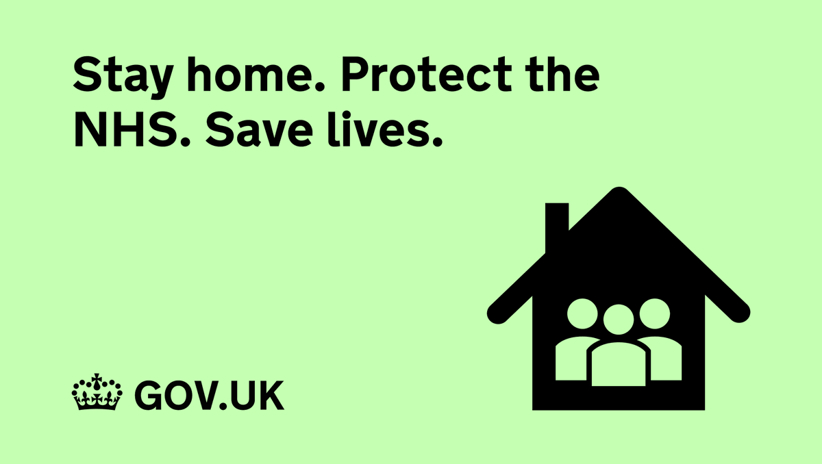 Stay home. Protect the NHS. Save lives. Stay informed about the latest rules in your area: (1/5)