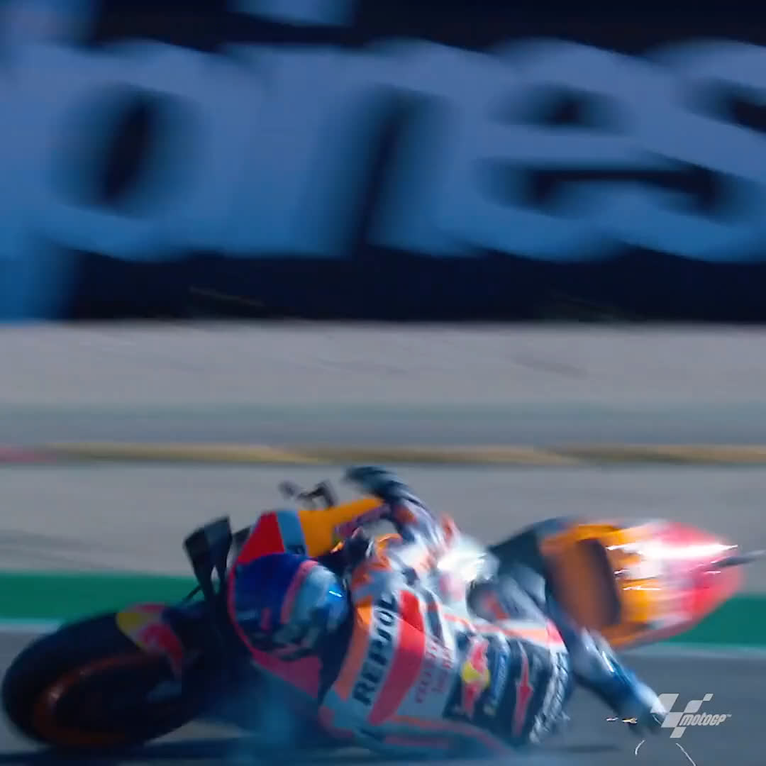 2020 Clips 🎥  Disaster struck for @alexmarquez73 at the #AlcanizGP in FP1! 😲  The rookie topped the morning practice but ended the session with this crash! 💥  #MotoGP