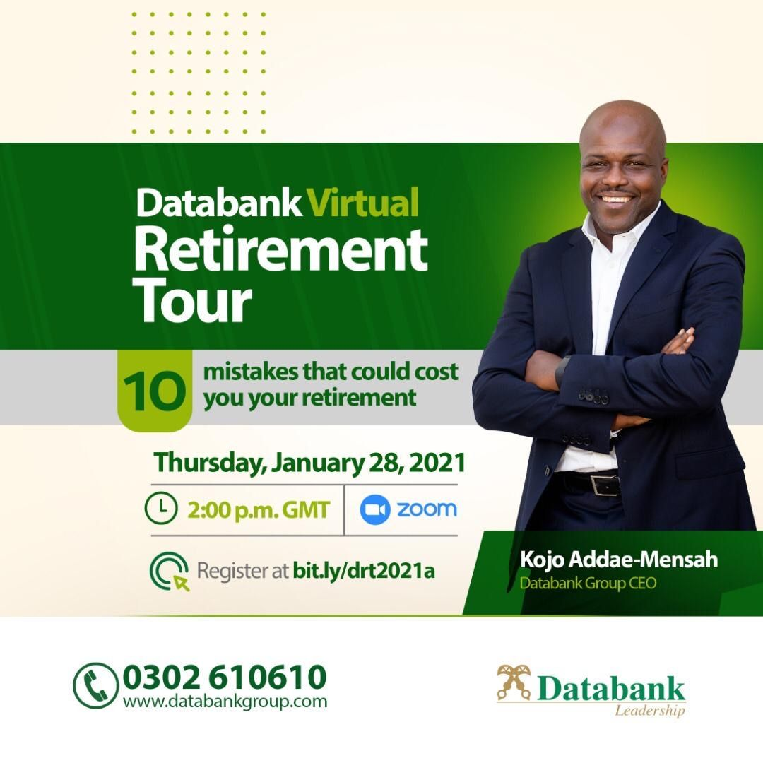 The Databank Virtual  Retirement Tour is Back!  Get to educate yourself on Thursday,28th January, 2021, 2:00 p.m. prompt.  Register right here 👉🏾 https://t.co/6CtcivkQ0N  #DRT2021 #Retirement #Investment https://t.co/lBwXVtGVBk https://t.co/BaQgE2MM91