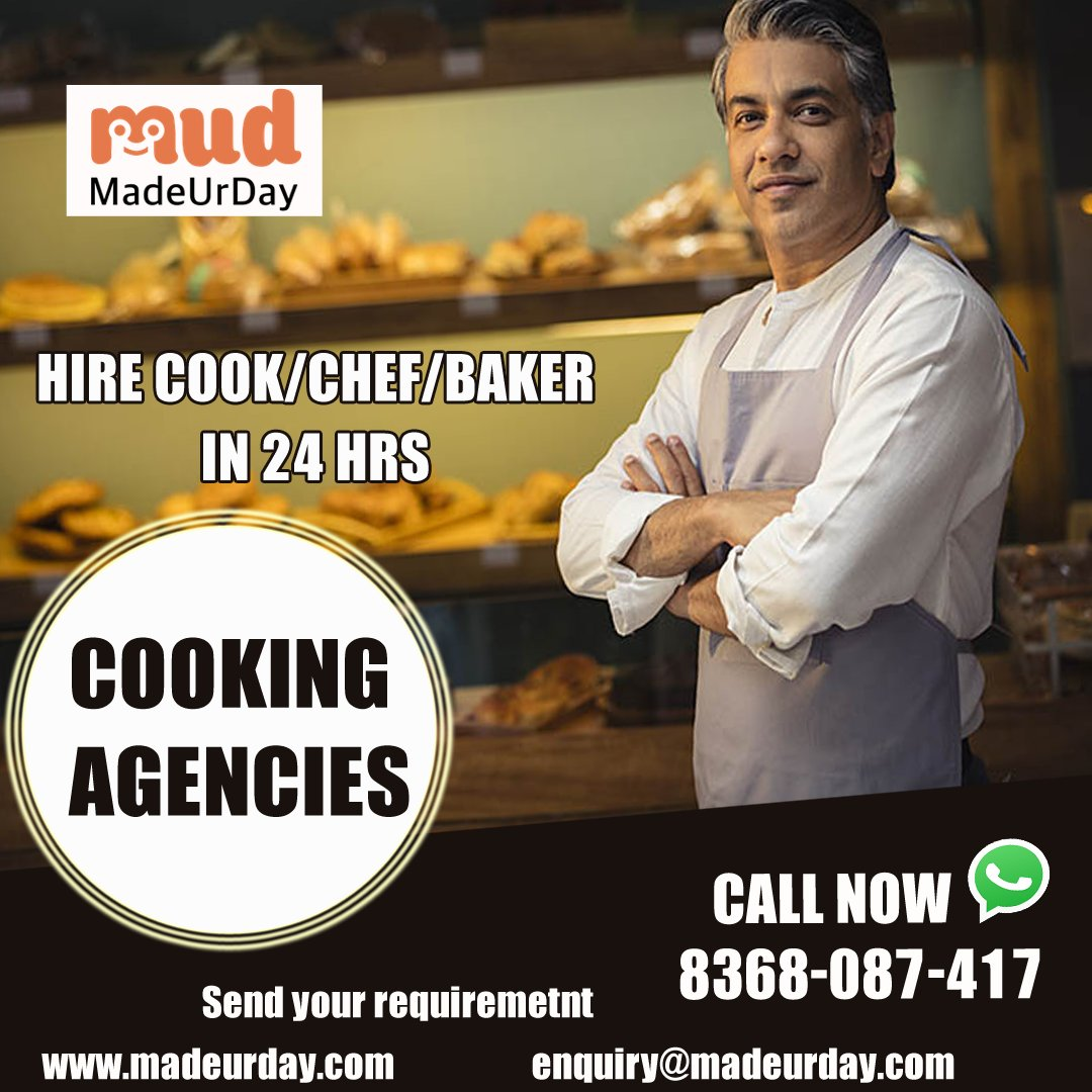 """Cooking Agencies Hire cook/chef/baker in 24 hrs  Call us: 08368087417 Visit:  Or Mail Us At: enquiry@madeurday.com  #Cookingagencies #food #cooking #chef #foodie #instafood #Customers #madeurday""#mudfru #mud_4_u #mud.fr.u #madeurday"""