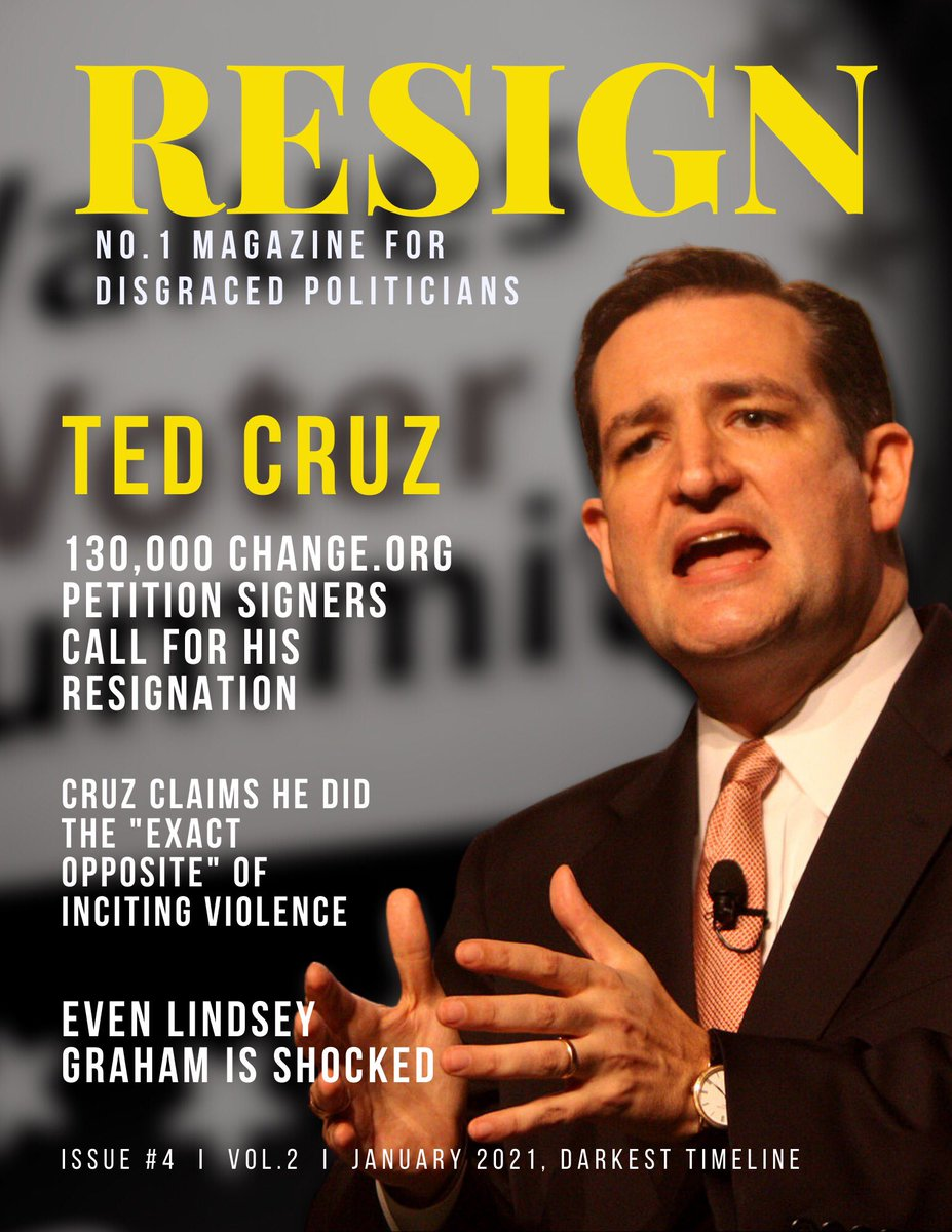 This months issue of RESIGN magazine is out & 160,000 petition signers think its time for @tedcruz to face the music #resigntedcruz https://t.co/NKPmRgvSfV