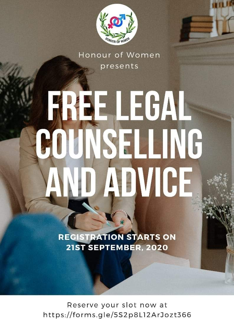 Honour Of Women is organizing a free legal counselling session .  Kindly register on the link given below:    #legalcounselling #counselling  #CounsellingSession #legal #legalaid #Online  #ThursdayThoughts #thursdayvibes #ThursdayMotivation