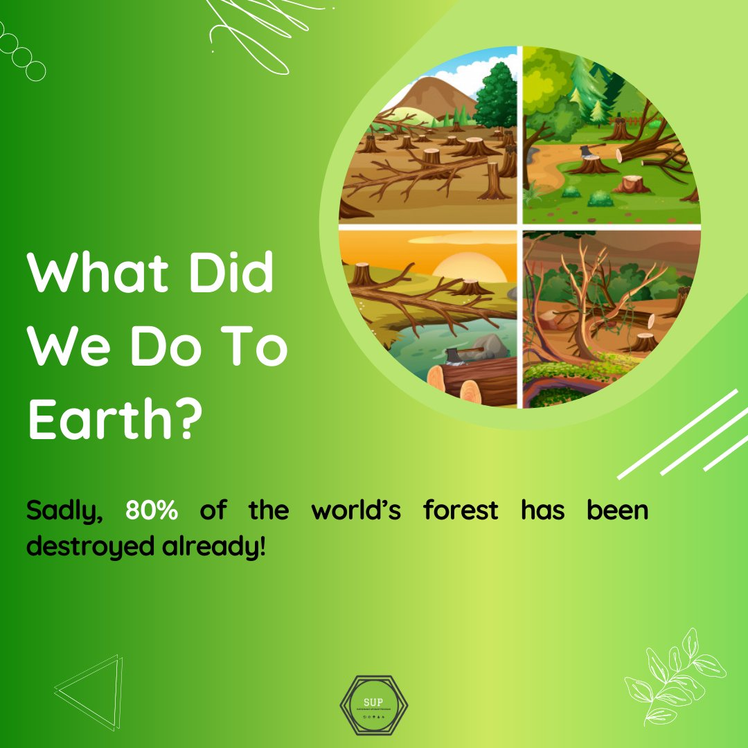 80% of the world's forest is gone, Thanks to unending human want!! #trending #forests #fornature #sustainable #twitter #savelife #environment #gtreenpeace #world #earth