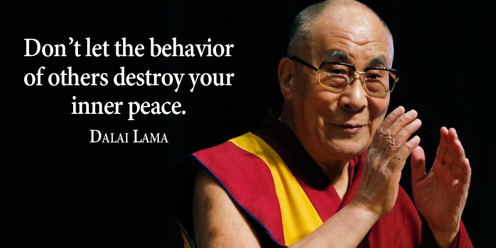 Don't let the behavior of others destroy your inner peace. - Dalai Lama #quote #ThankfulThursday