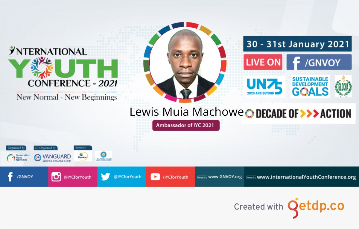 I am happy to be an ambassador of International Youth Conference 2021. I encourage the Youth to join the movement at  and connect with great young minds #decadeofaction #un75 #sdgs #buildbacksustainable #youthlead @IYCForYouth @gnvoyofficial @GlochaYouth