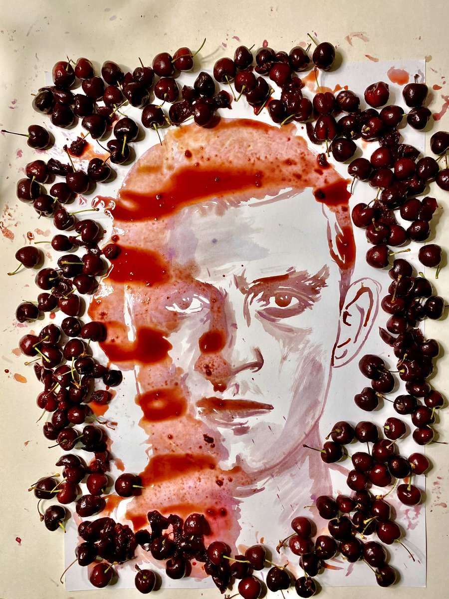 🍒🍒 CHERRY ART! 🍒 🍒 My @TomHolland1996 portrait created using nothing but CHERRIES! 🍒 His new movie is titled #Cherry by  @Russo_Bros @AGBOfilms @AppleTV 🍒  #cherrymovie #cherryfilm #tomholland #apple #therussobrothers #foodart
