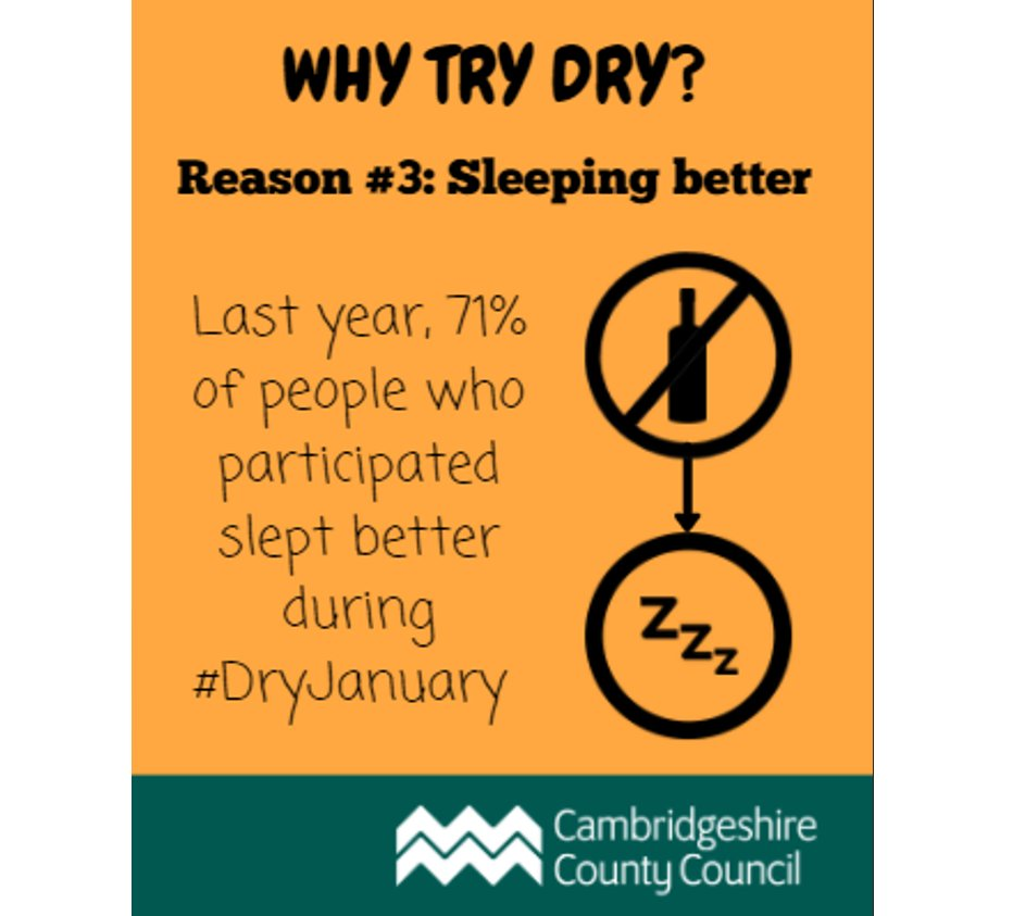 Why try #DryJanuary ? Last year, 71% of people who participated got better quality sleep. Learn more here:  @Selena61466341  @theEDGEcafe @CambsCops
