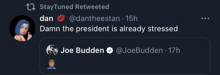 Yo I'm actually dead, people be really confusing @JoeBudden with @JoeBiden 🤣🤣 #PresidentBiden #ImpeachedTwice #DontTrustPeopleWho #OpenInternet #America