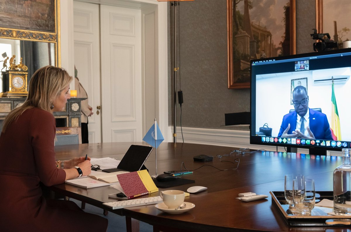 #UNSGSA Queen Máxima spoke about the importance of key #digital public goods w/ Minister for the Digital Economy and Telecommunications @ydiatara during the first bilateral of today's virtual country visit with #Senegal.   #financialinclusion