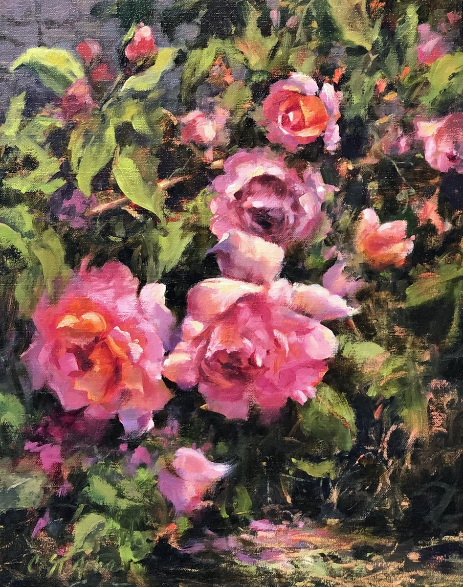 """Dreaming of Summer on a cold January Day! """"Giverny Roses"""" 14X11 oil. #oilpainting #art #interiordecor #artcollectors #color #roses #landscape"""