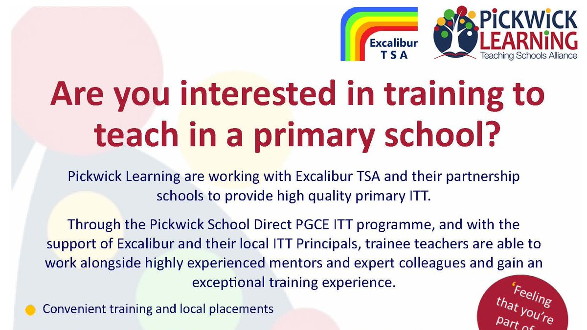 We work with Corsham-based @PickwickLTSA which offers Primary PGCE training, to offer trainee placements at primary schools in the Excalibur area. More here, including details of the primary teaching information events: https://t.co/nvmZelIiqT