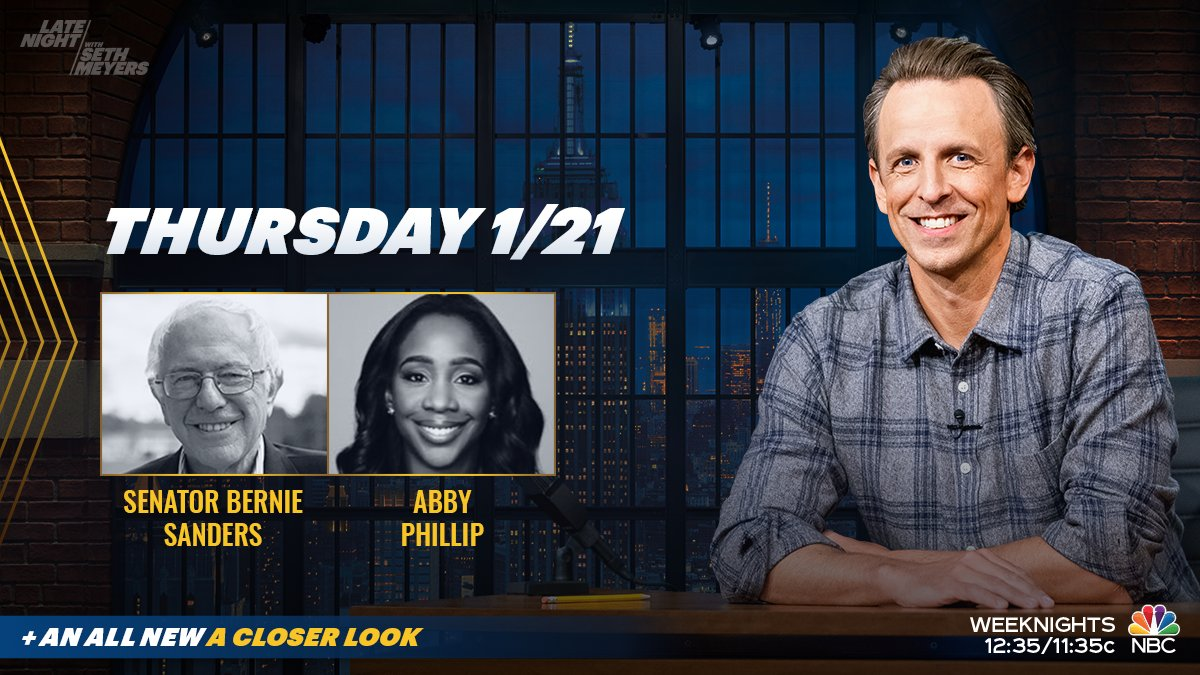 Tonight, @SethMeyers welcomes @SenSanders and @abbydphillip! Plus, an all new #ACloserLook.