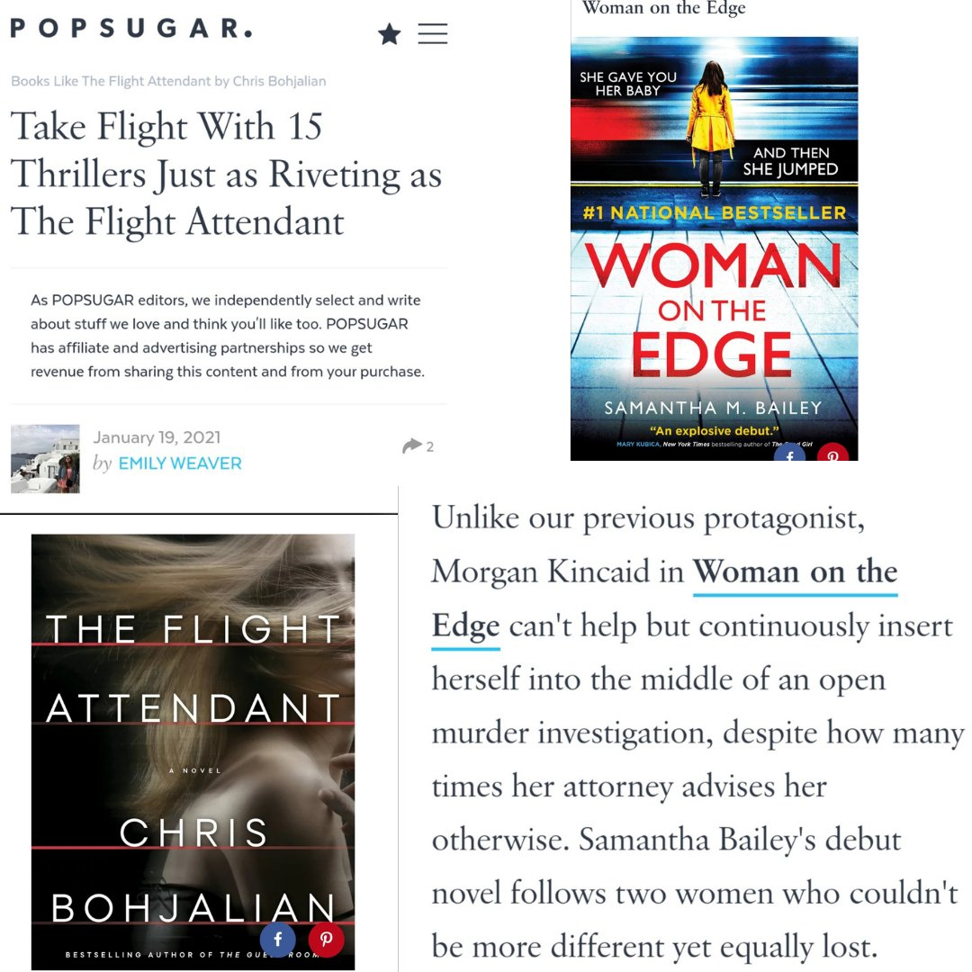 I'm a HUGE fan of @ChrisBohjalian & devoured THE FLIGHT ATTENDANT. I'm incredibly honored that @emweaves has included WOMAN ON THE EDGE on this stellar @POPSUGAR list of riveting thrillers to read after #TheFlightAttendant! The whole list is here: