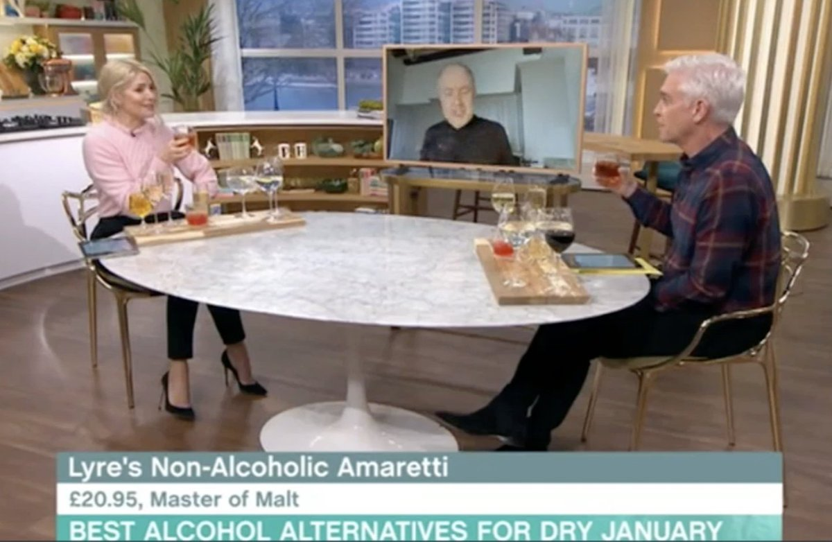 Thanks to the team at @thismorning and the fabulous @mrvinosaurus for featuring our brilliant client @LyresSpiritCo in a #DryJanuary product showcase today. #StaySpirited 🥃🥃🥃