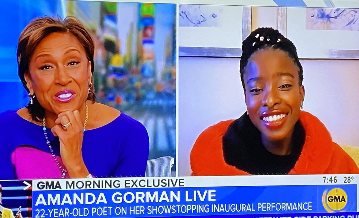 """.@TheAmandaGorman to @GMA's @RobinRoberts on if she's going to run for president in 2036: """"Heck yeah."""""""