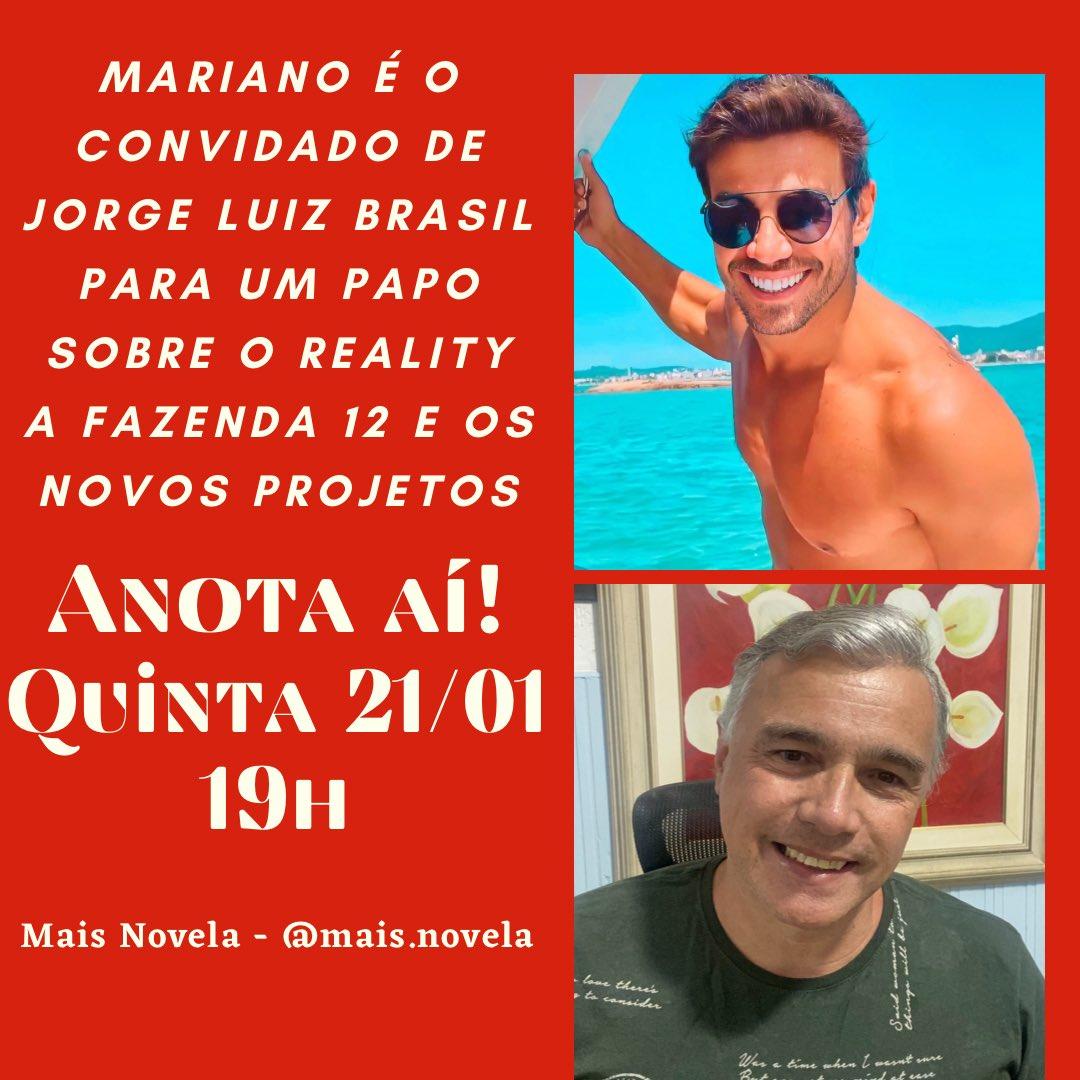 Gente quem  tem fc no ig tem que compartilhar  hoje as 19hs  tem live do  @mariano_mem  com @jorgeluizbrasil  #MALYNE🥣 #teamMariano🎙 #teamJake👑