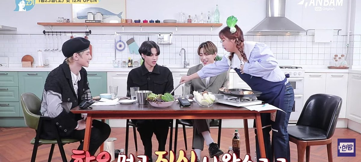 Him seeing a girl(host) serving meat for the 3 of them, and he went like this, offering a help again🥺🥺