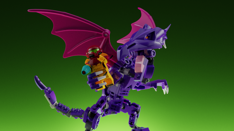 A fan-made LEGO set that includes Samus, her Gunship, a small Metroid, and more received an update today that added a giant Ridley to the potential playset.