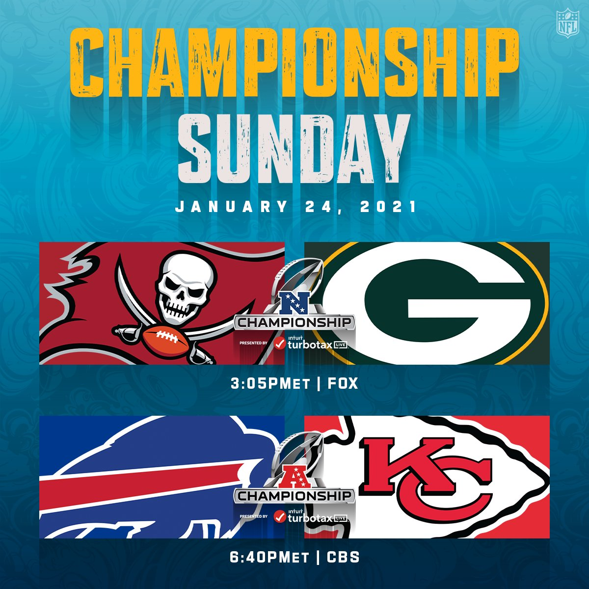 These Championship Sunday matchups! 👀  📺: #TBvsGB -- Sunday 3:05pm ET on FOX 📺: #BUFvsKC -- Sunday 6:40pm ET on CBS 📱: NFL app // Yahoo Sports app