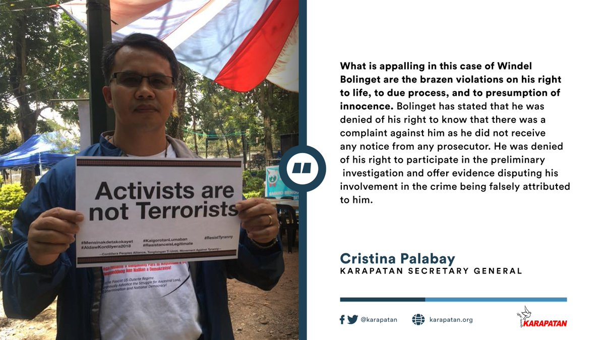 The Philippine National Police should stop its harassment and threats against Windel Bolinget. We support the call to drop the trumped-up charges against him, as well as those against all activists and political dissenters. READ: karapatan.org/karapatan+decr…