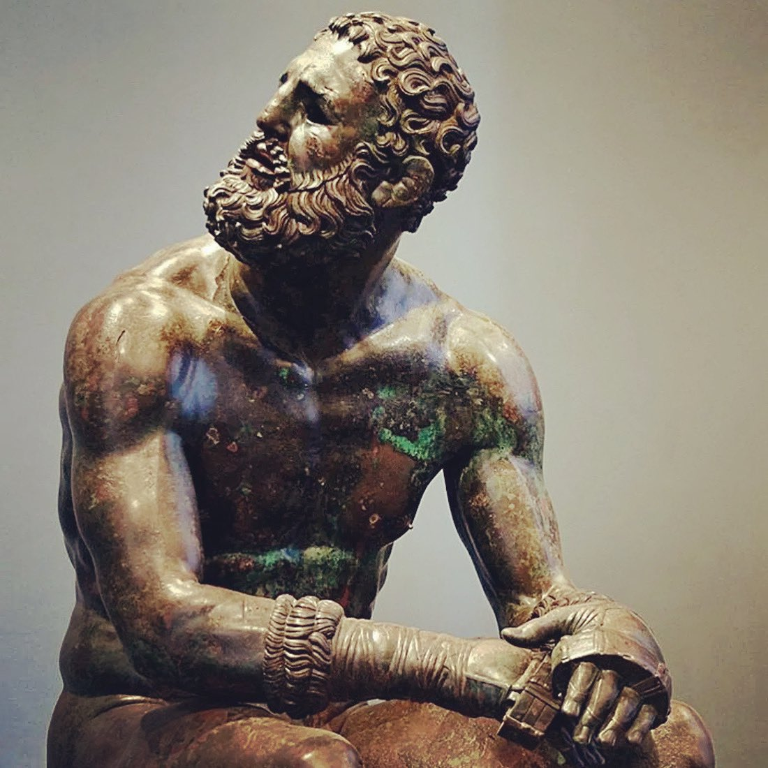 """""""Boxer at Rest"""" is one of the finest art pieces to have survived from the Hellenistic Period. This bronze sculpture was made between 330 B.C.- 50 B.C. and brilliantly adds some unusual realism to an otherwise heavily stylized art. #art #arthistory #boxer"""