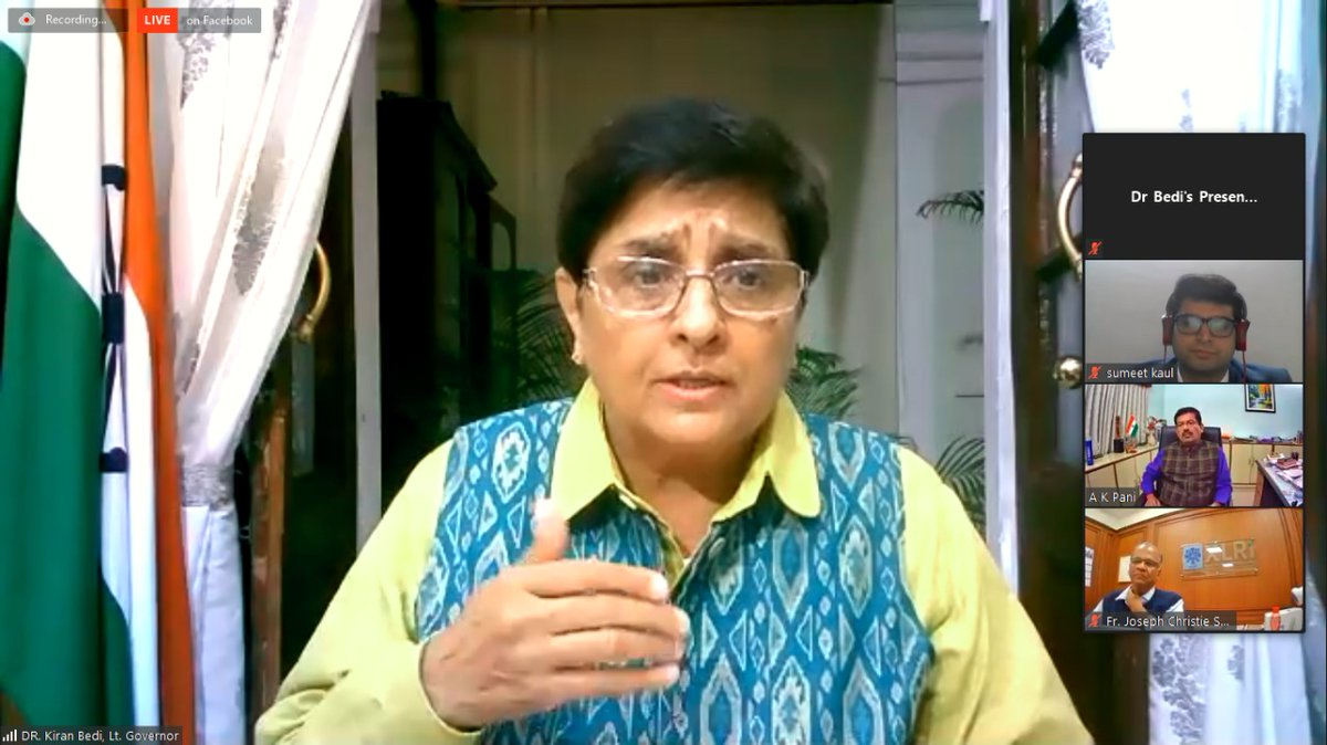 """""""#COVID19 taught us how to deal with uncertainty"""": HLG @thekiranbedi to students of @XLRI_PGDM_GM  She's talking to the students on 'Creative Leadership - Collaborative Governance'.  @XLRIJamshedpur"""