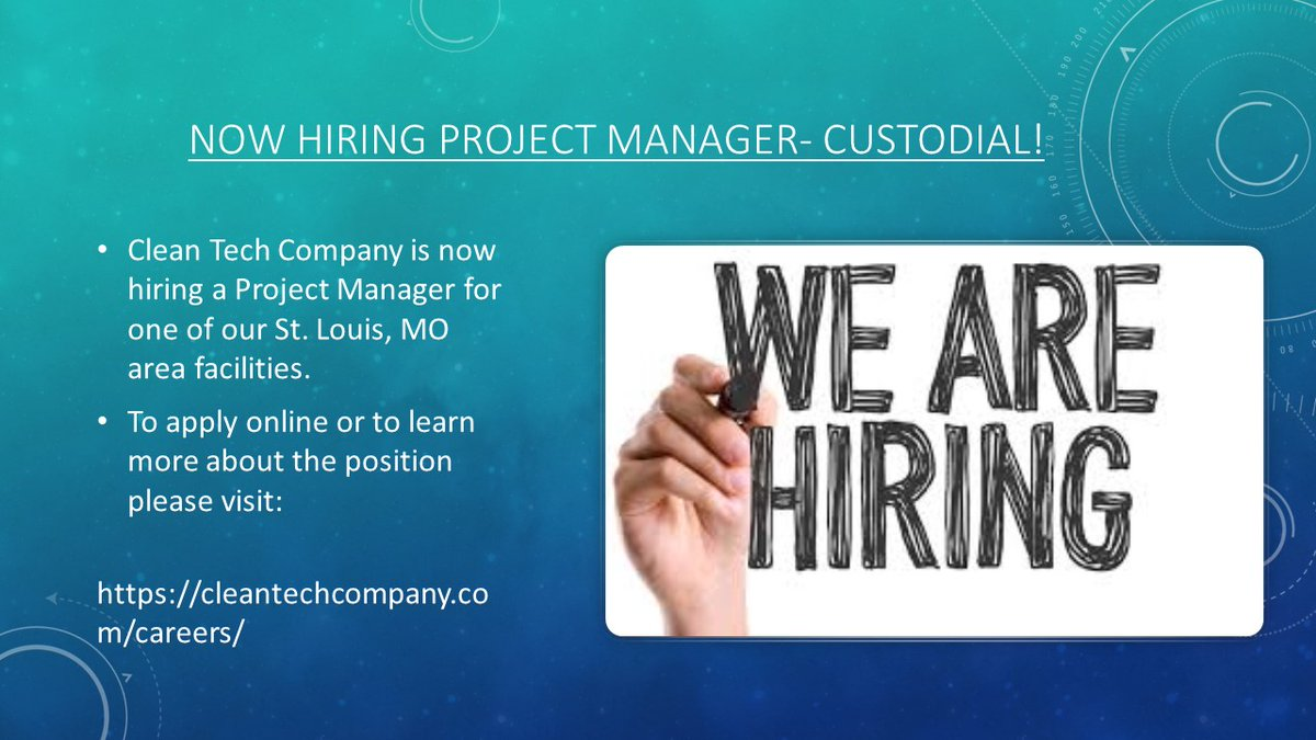Project Manager Needed- St. Louis, MO. - Clean-Tech Company- Apply Today!    #jobsearch #Jobs #job #Career #Careers #careergoals #StLouis #Missouri #Management #Professional #ThursdayMotivation #Thursday #ApplyNow #HIRINGNOW #hiring