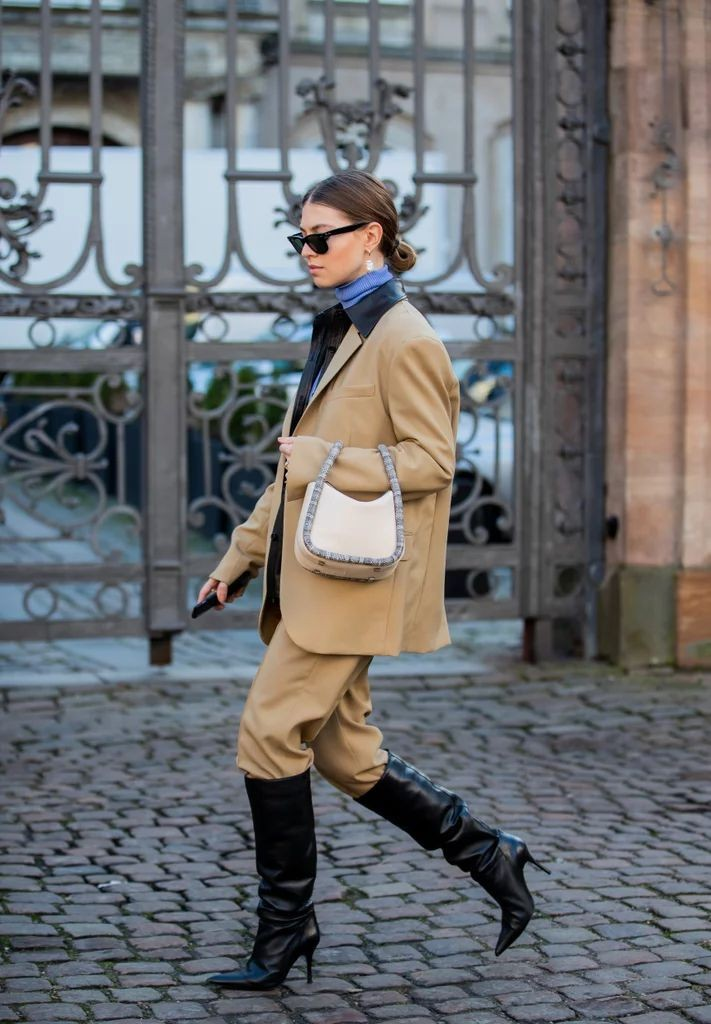 How to style knee-high boots . #fashionblog #styleinspo #streetstyle #look #turtleneck #suit #minibag #leather #kneehighboots #ootd #style #fashion #menswear #streetfashion  ⬇️