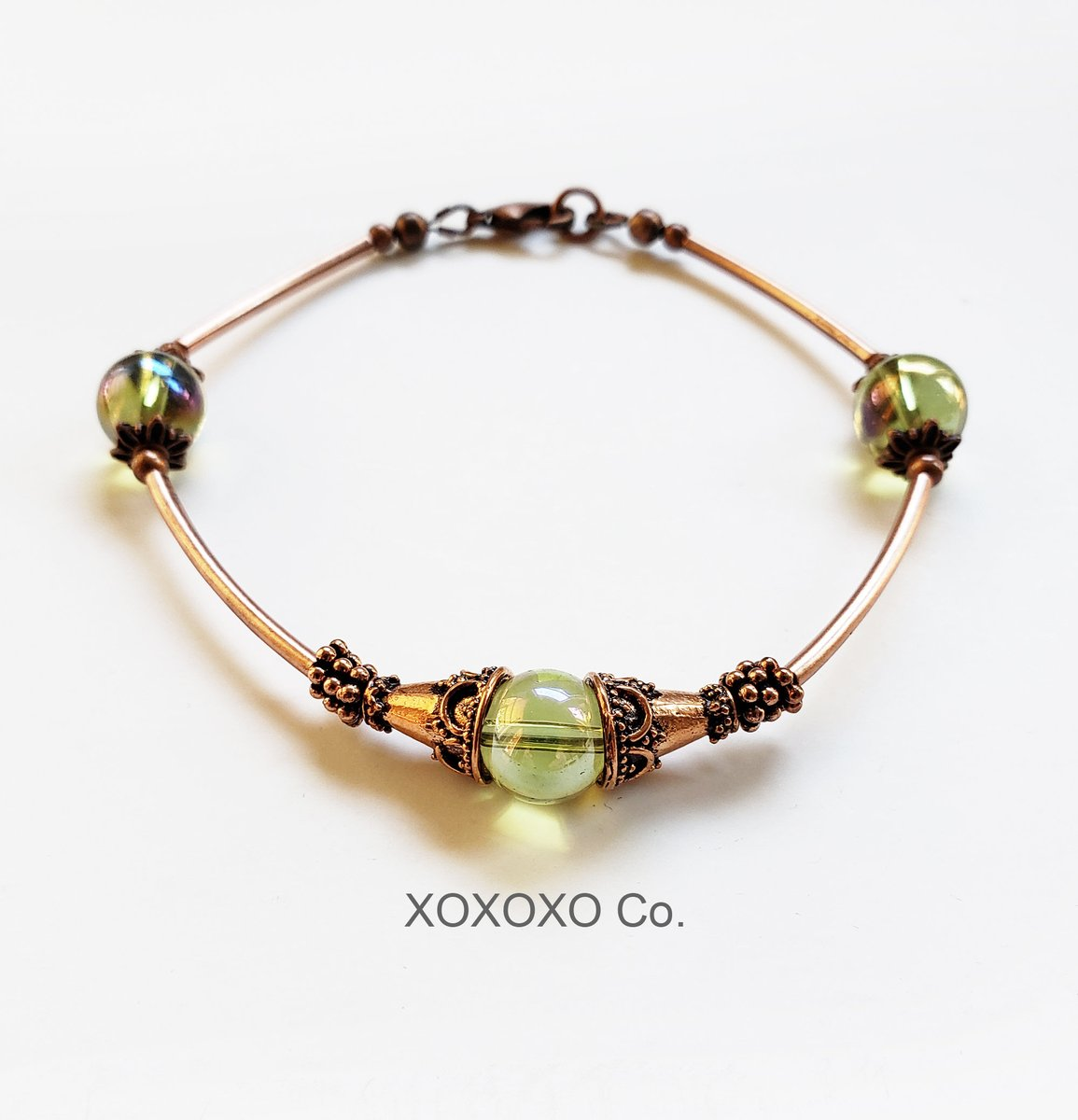 Copper Bracelet with AV Green Glass Beads and Copper Tube Beads  #handmade #giftsforher #jewelryblogger #handmadejewelry #shopsmall #fashion #Etsy #style #christmasgifts